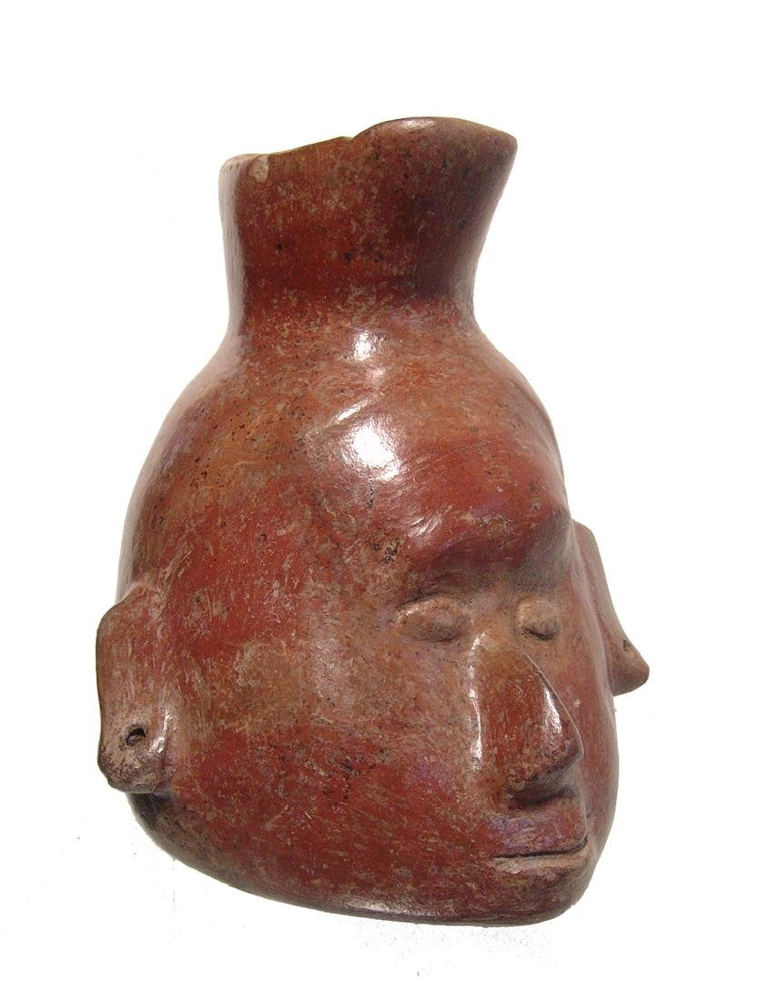 A handsome Colima trophy head vessel, West Mexico