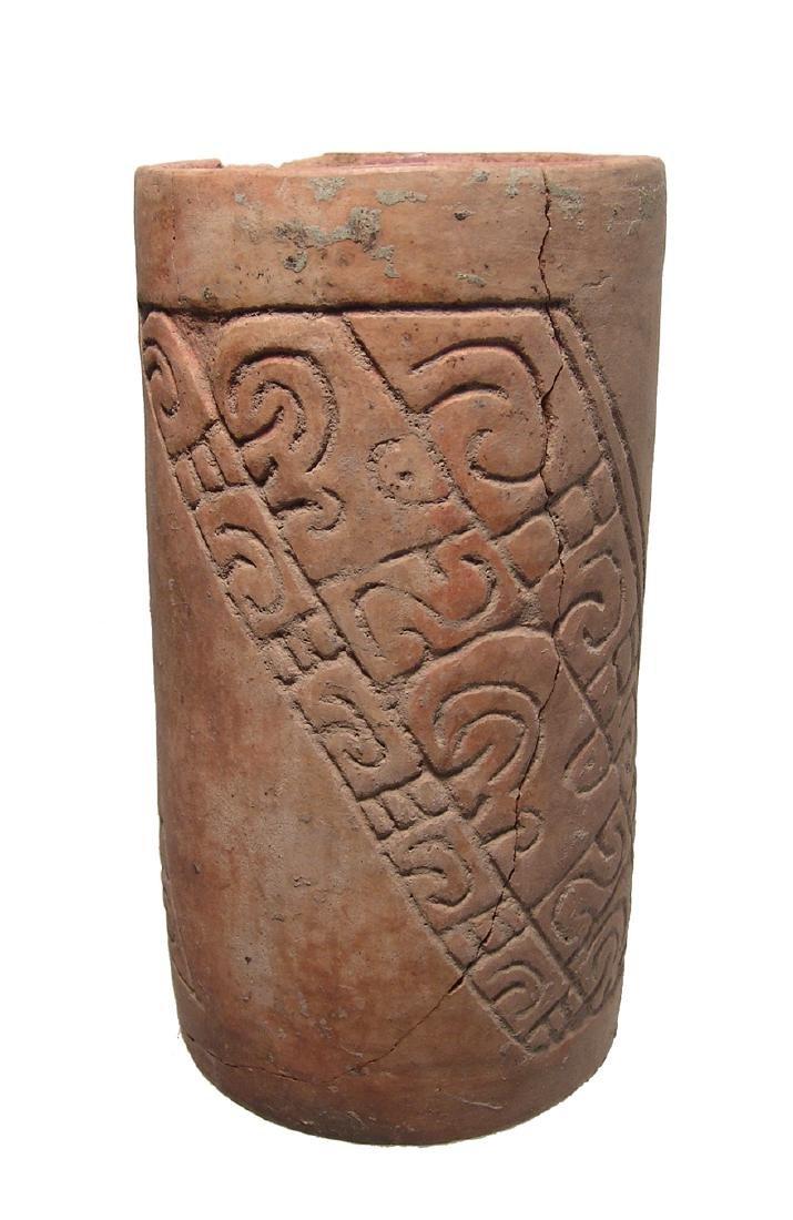 A nicely carved Maya cylinder from El Salvador