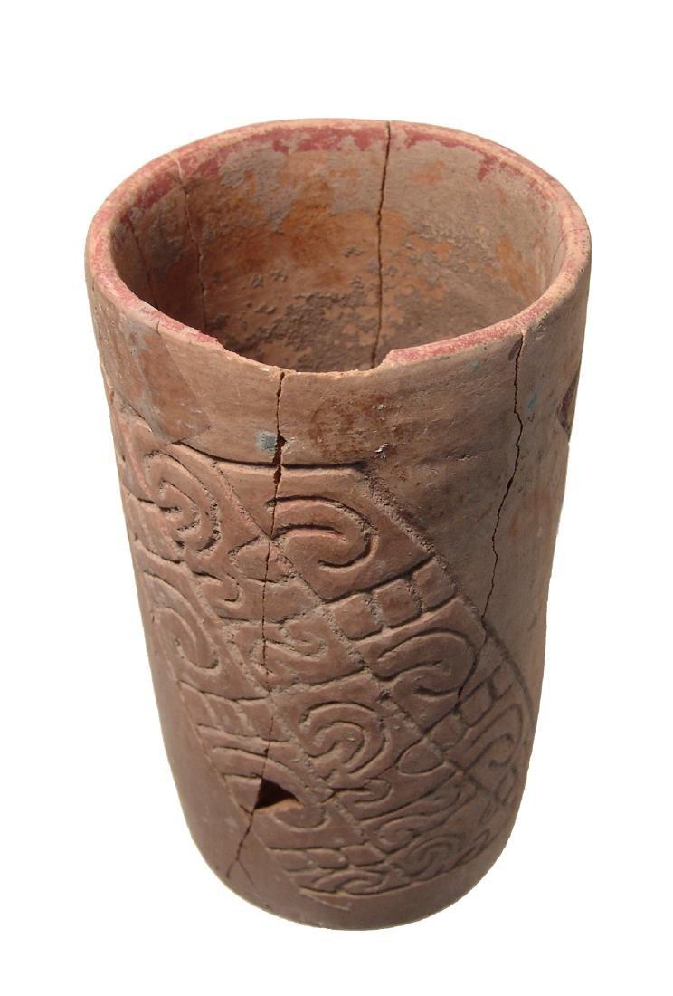 A nicely carved Maya cylinder from El Salvador - 4