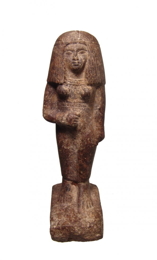 A nice Egyptian stone standing figure of a woman