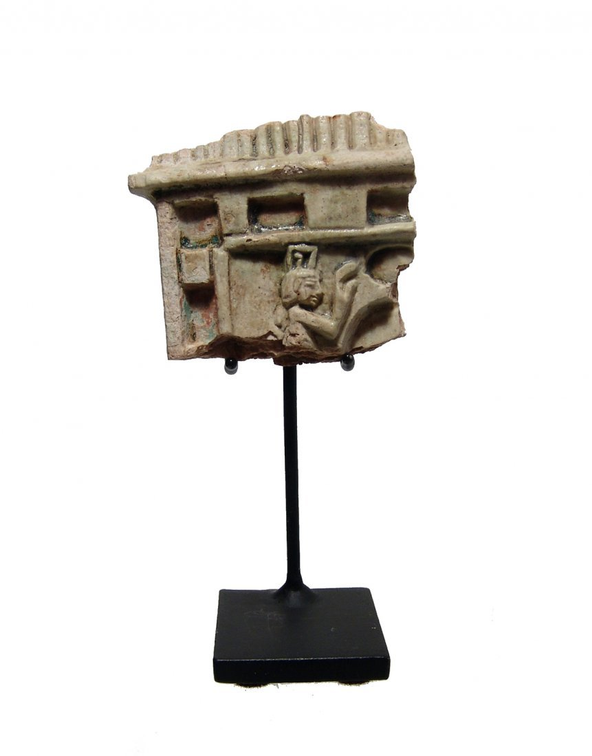 A nice Egyptian glazed steatite shrine fragment
