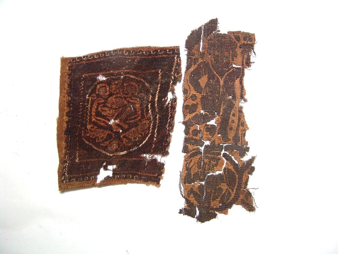 A pair of Coptic textile fragments, Roman Egypt