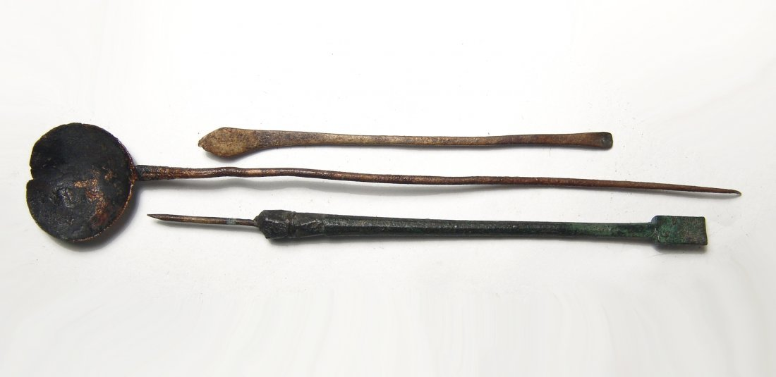 A group of 3 Roman medical implements