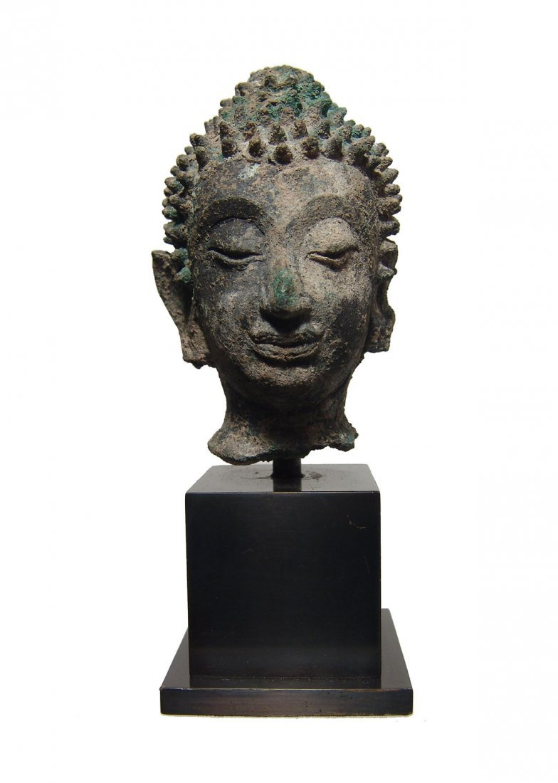 Lovely Thai Sukhotai Period bronze head of Buddha