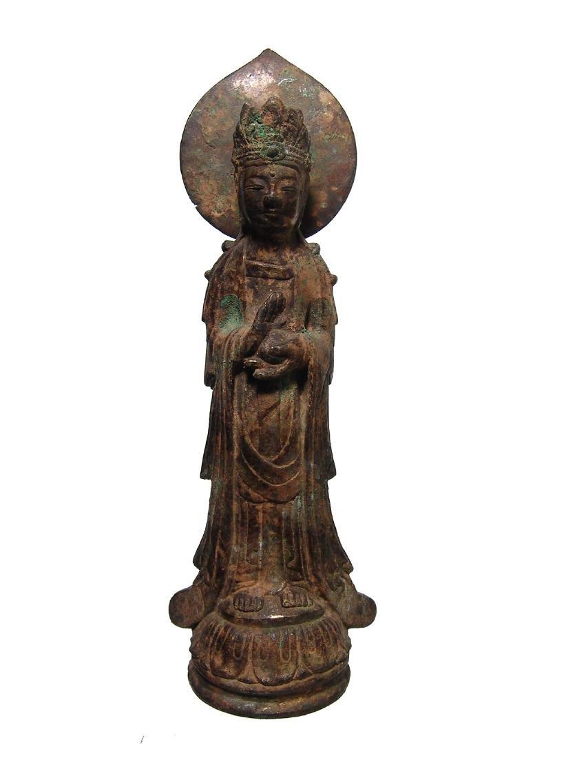A nice gilded bronze figure of a Bodhisattva