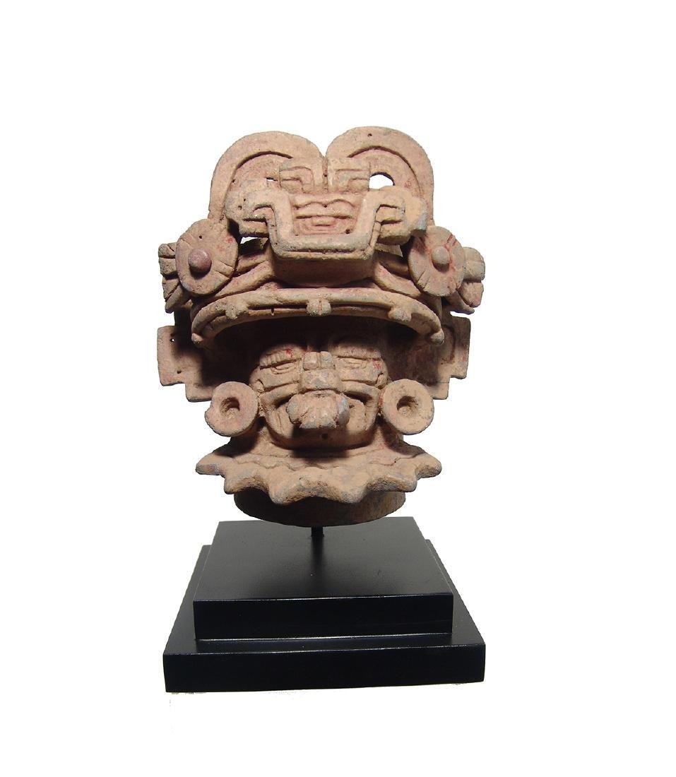 Beautiful Zapotec ceramic urn depicting the God Cocijo