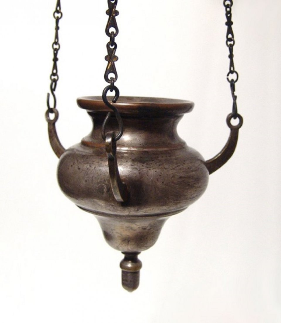 A nice antique hanging Sabbath lamp, Norblin and Co. - 2
