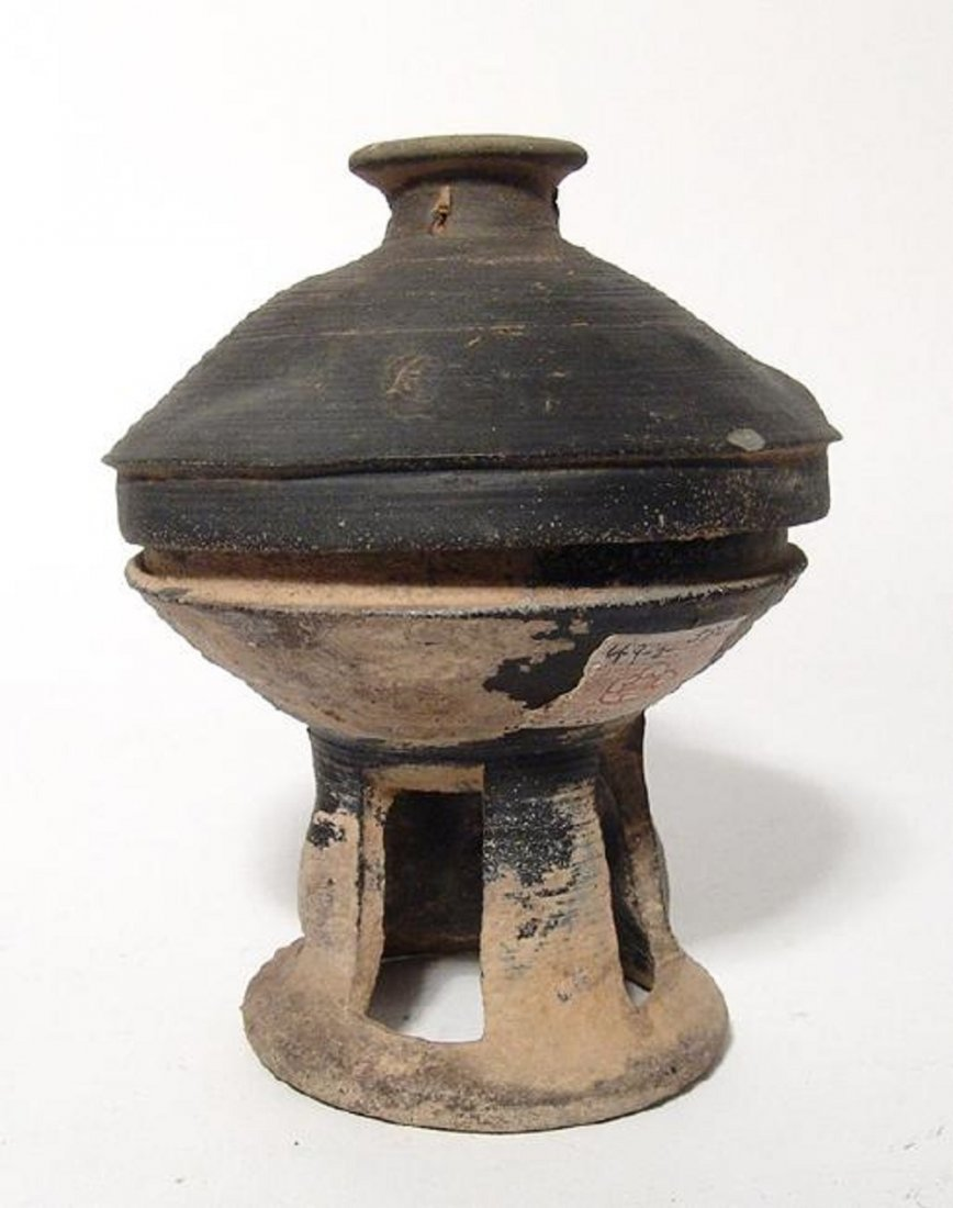 A nice Korean stone-ware pedestal bowl, Silla Period