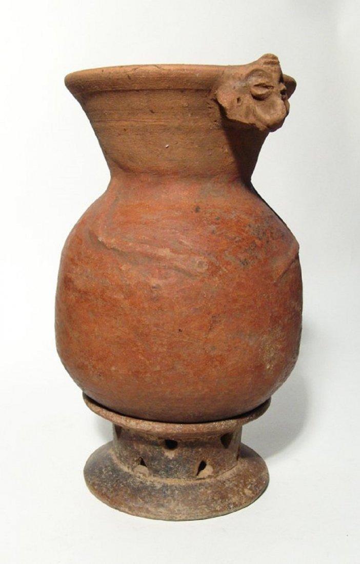 A nice Mayan ceramic Monkey effigy vessel with pedestal