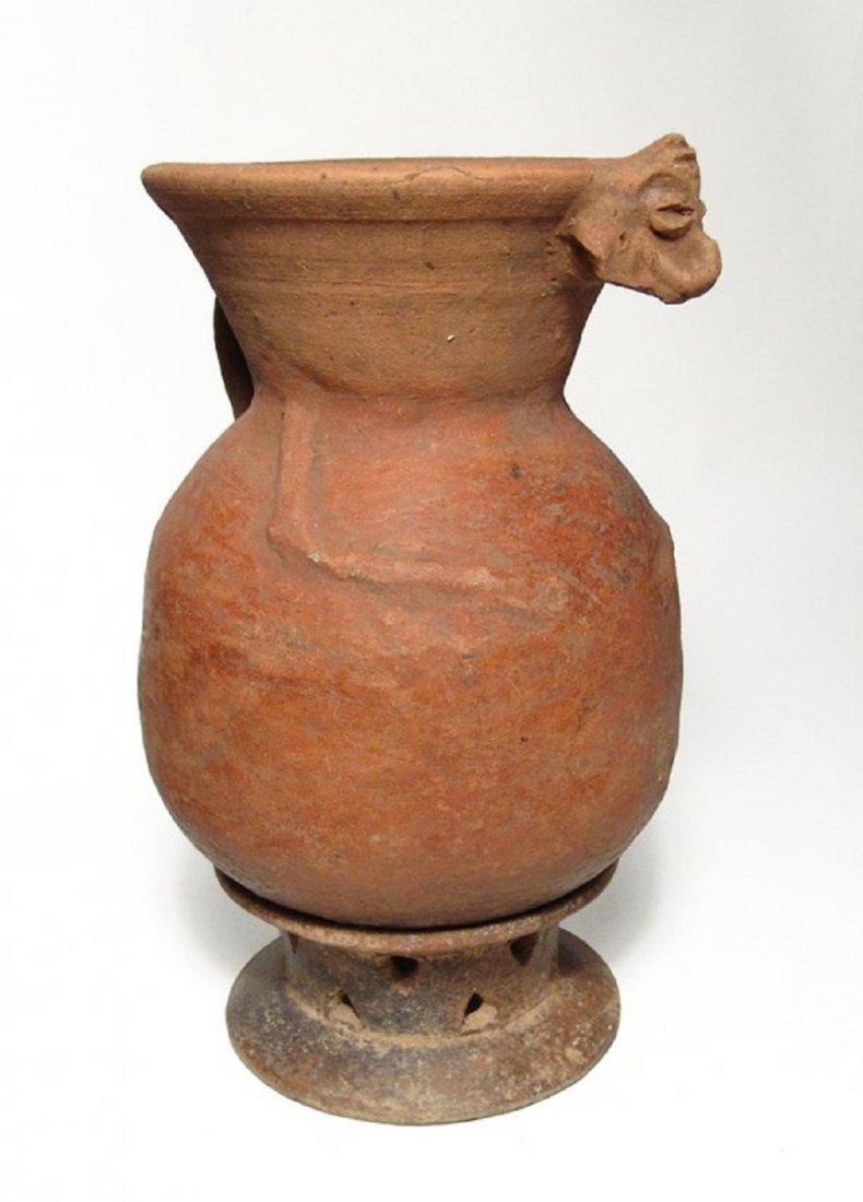 A nice Mayan ceramic Monkey effigy vessel with pedestal - 3
