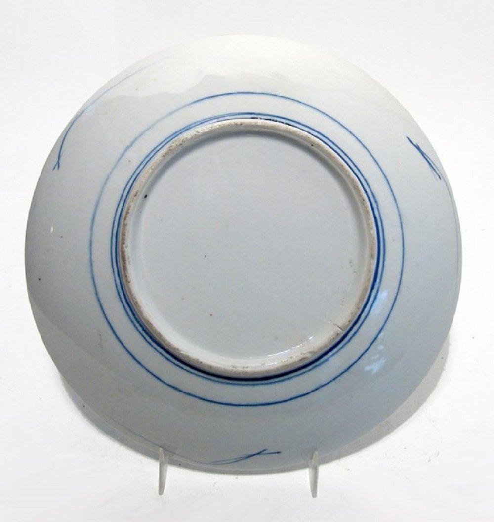 A lovely Japanese Imari blue on white porcelain plate - 2