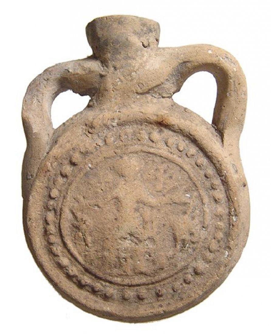 A terracotta souvenir pilgrim flask, Coptic Egypt
