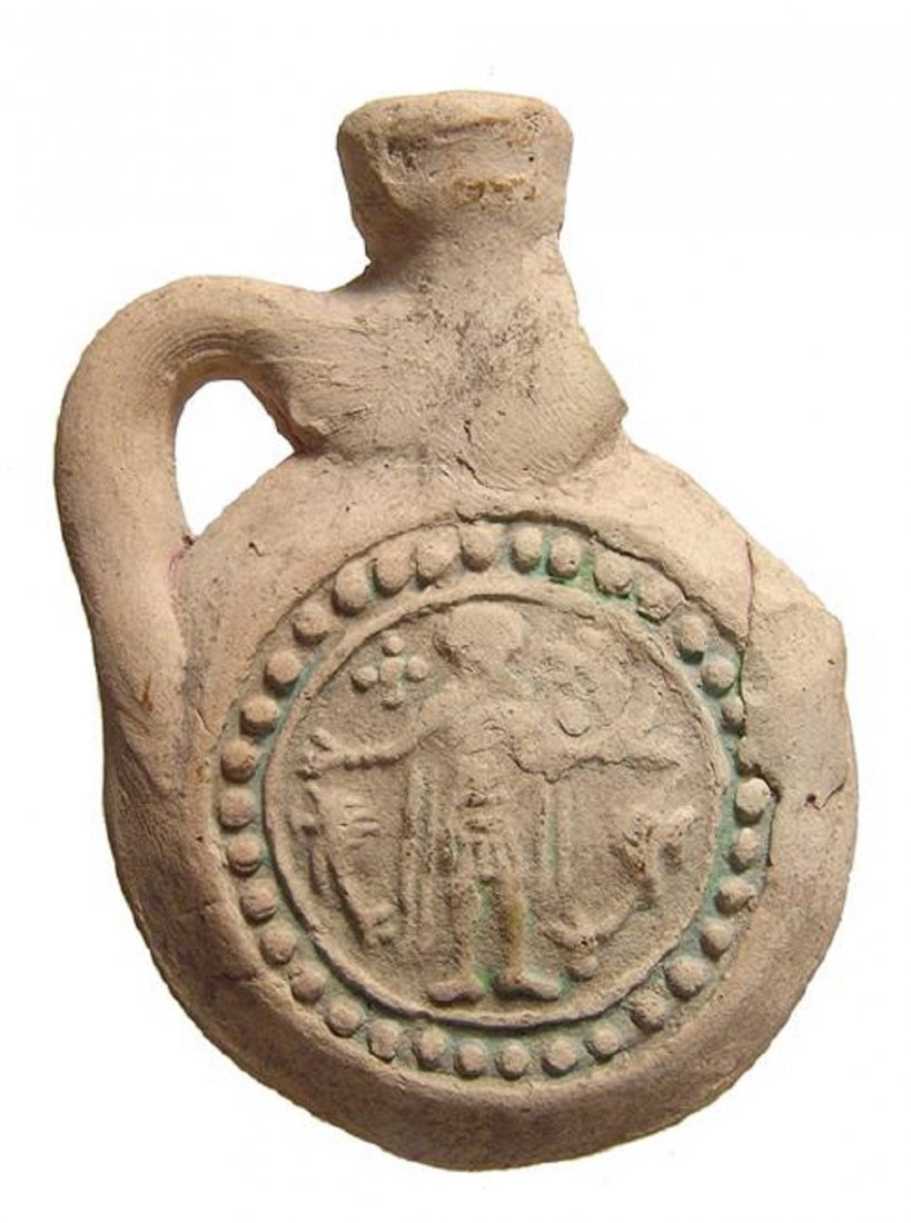 A Coptic terracotta souvenir pilgrim's flask