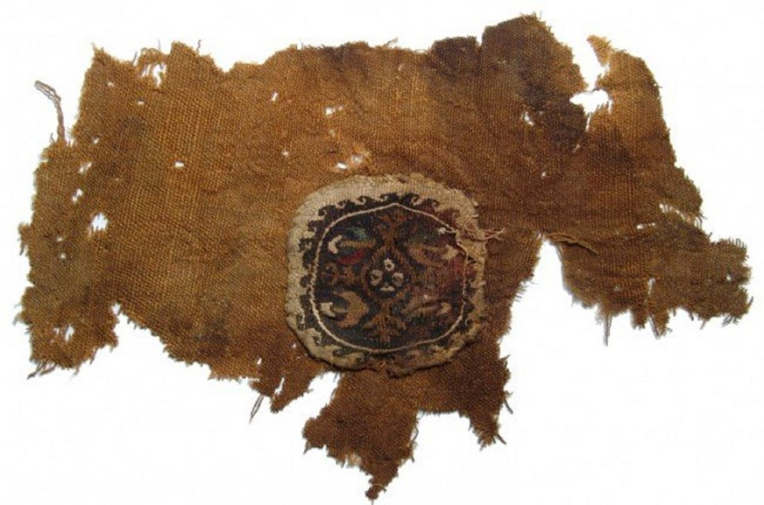 Coptic textile fragment with central medallion, Egypt