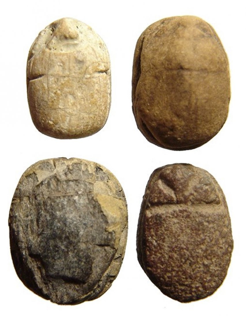 A group of 4 Egyptian steatite and faience scarabs - 2