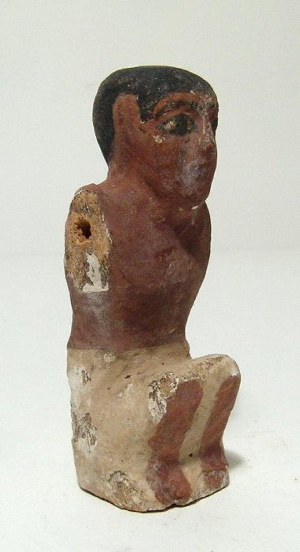 Egyptian wood painted figure of a man from model boat - 2