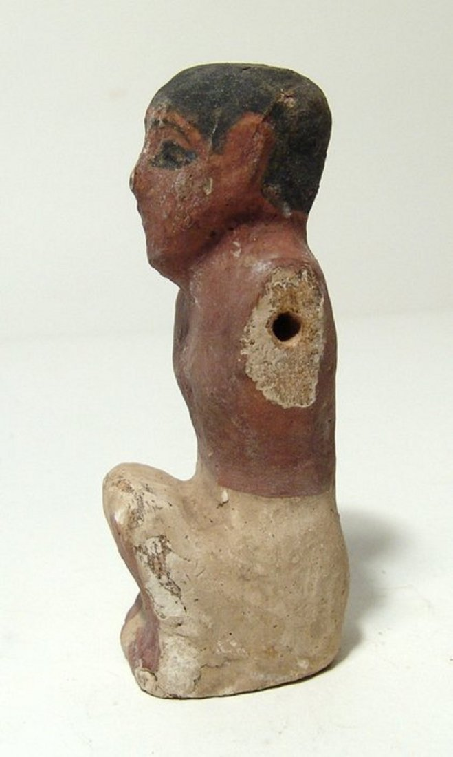 Egyptian wood painted figure of a man from model boat - 3