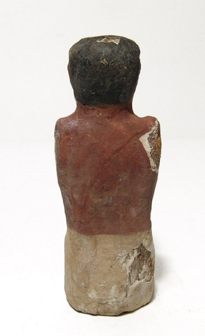 Egyptian wood painted figure of a man from model boat - 4