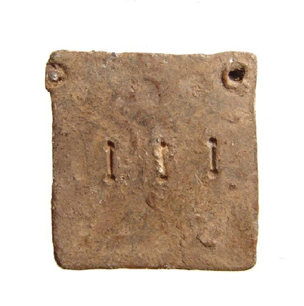 A Roman square lead 3 Uncia weight