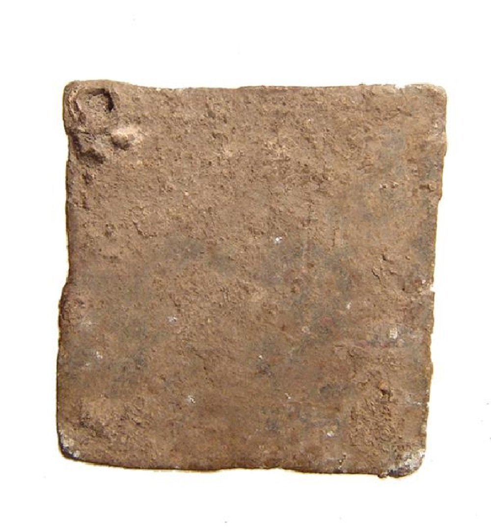A Roman square lead 3 Uncia weight - 2