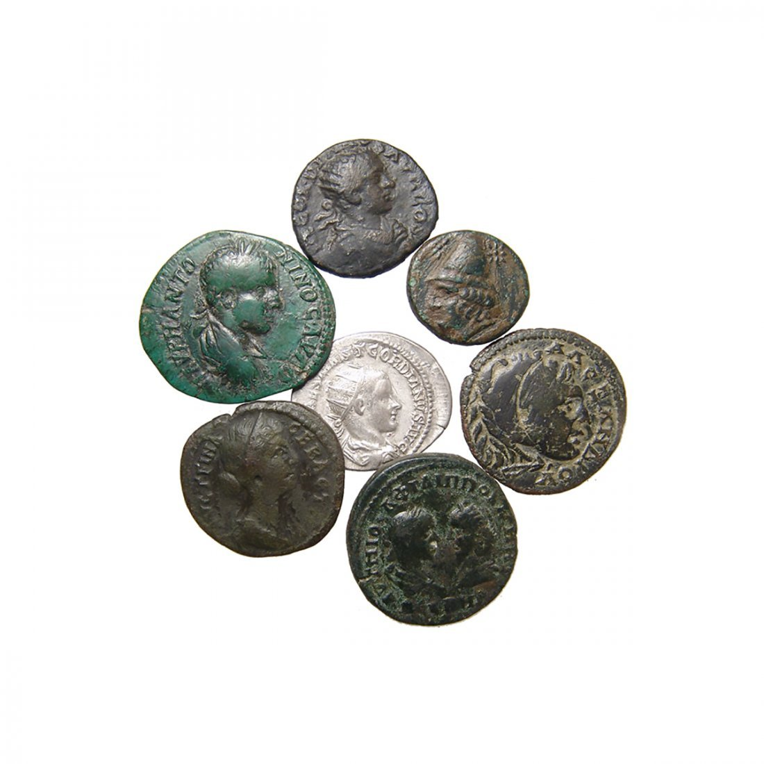 7 Greek and Roman coins in silver and bronze