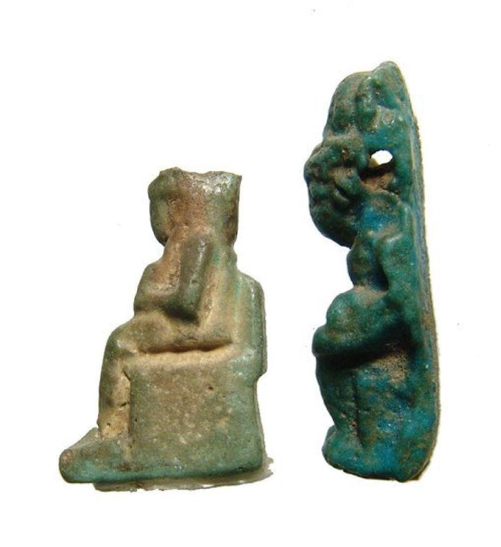 A pair of Egyptian faience amulets of Isis and Horus - 2