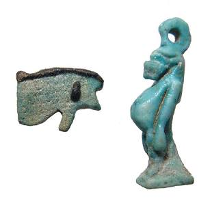 A nice pair of Egyptian faience amulets