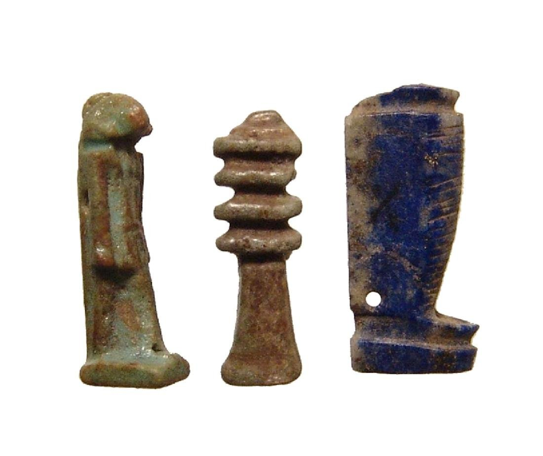 A group of 3 Egyptian stone and faience amulets