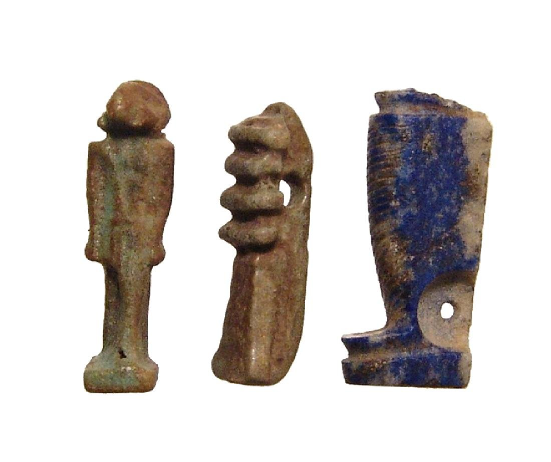 A group of 3 Egyptian stone and faience amulets - 2