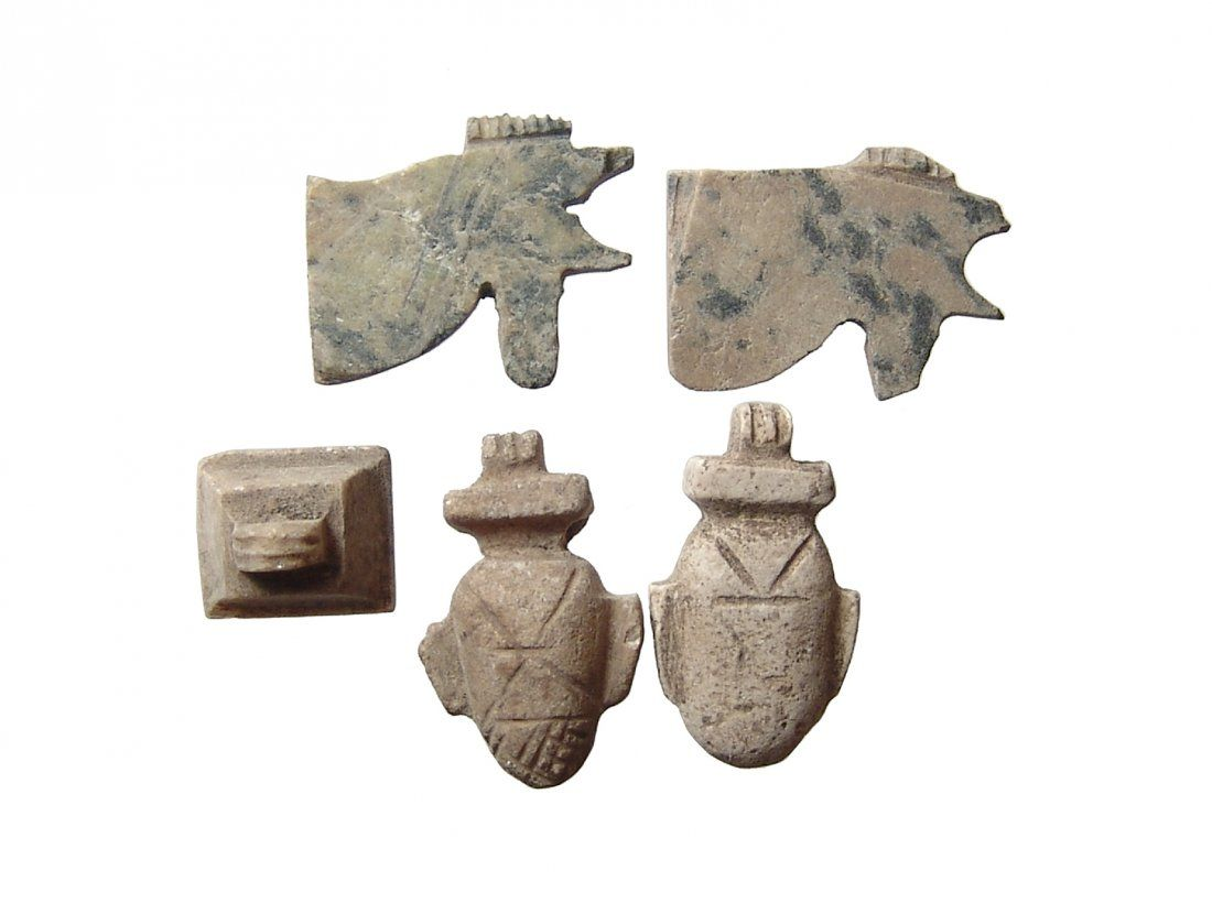 A lot of 5 Egyptian stone amulets, Late Period