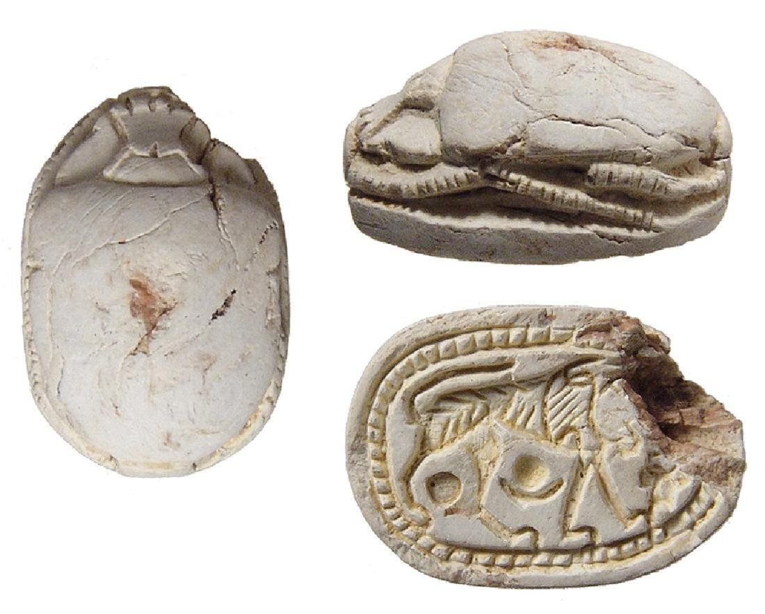 Egyptian steatite scarab w/ lion, 2nd Intermediate