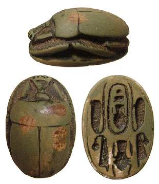 Egyptian glazed steatite scarab, New Kingdom