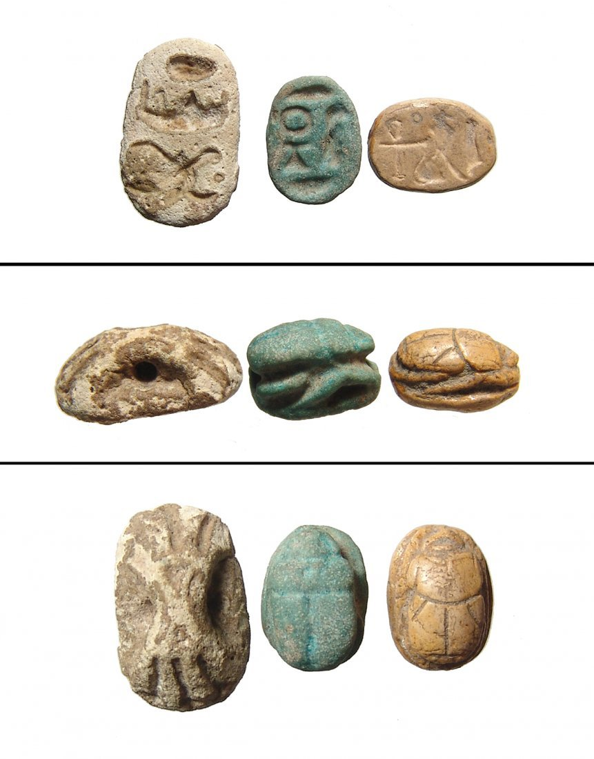 A lot of 3 ancient Egyptian scarabs