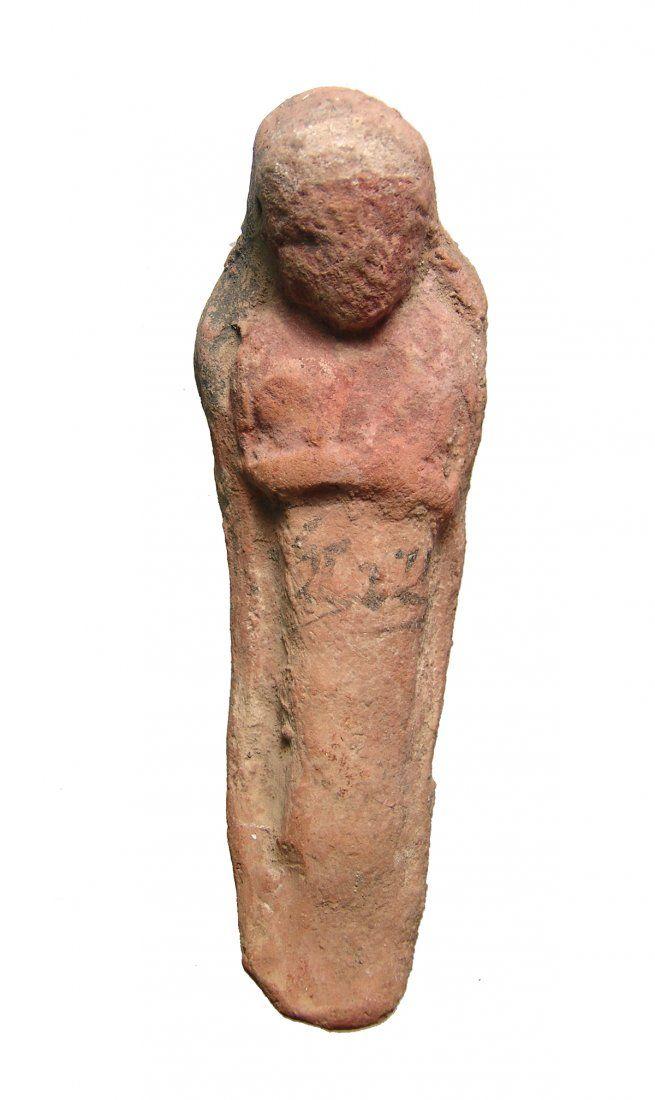 Egyptian terracotta ushabti with Hieratic inscription