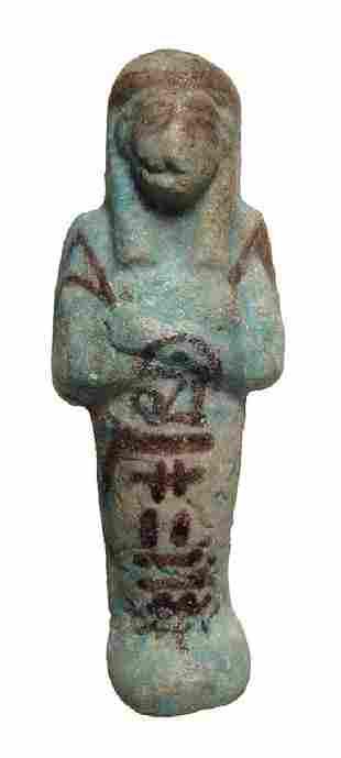 Egyptian bicolor faience ushabti, 3rd Intermediate
