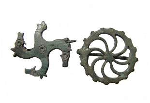 A pair of Roman bronze brooches
