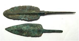 A pair of Near Eastern bronze spear points