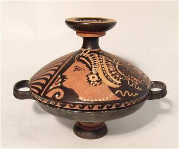 A choice Greek red-figure Lekanis with painted lid