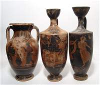 Trio of ancient Greek-style pottery reproductions