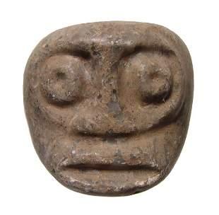Costa Rican greenstone mace in form of human head