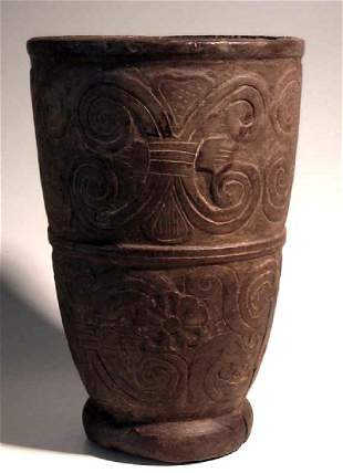 A very large Colonial Inca wood kero