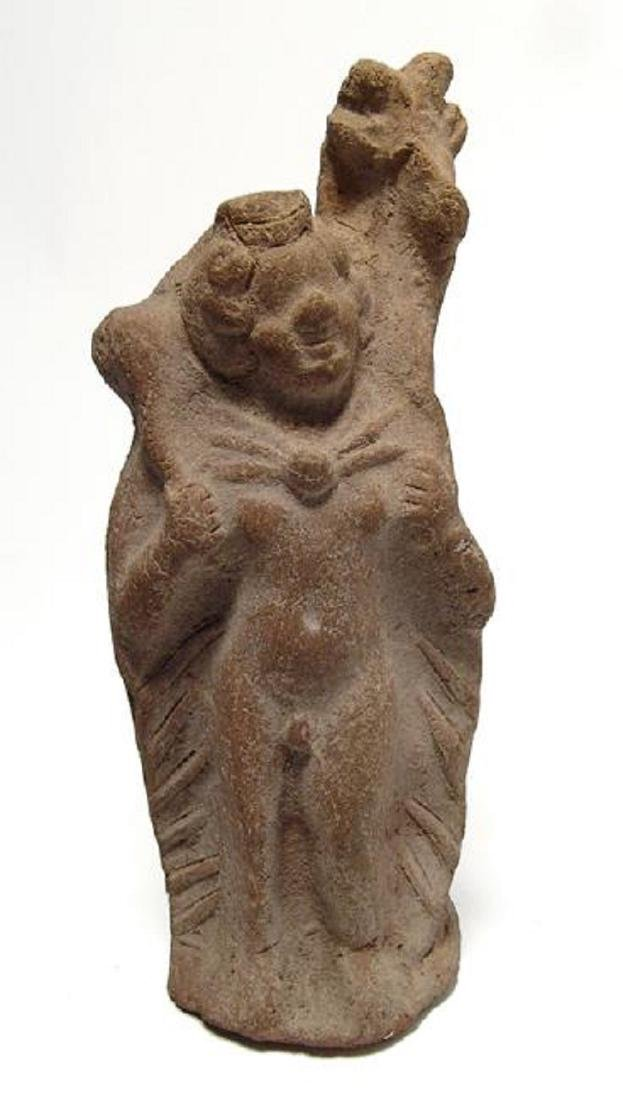 Romano-Egyptian terracotta figure of Pan with goat