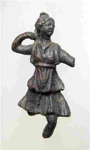 A lovely Roman bronze figurine of Diana