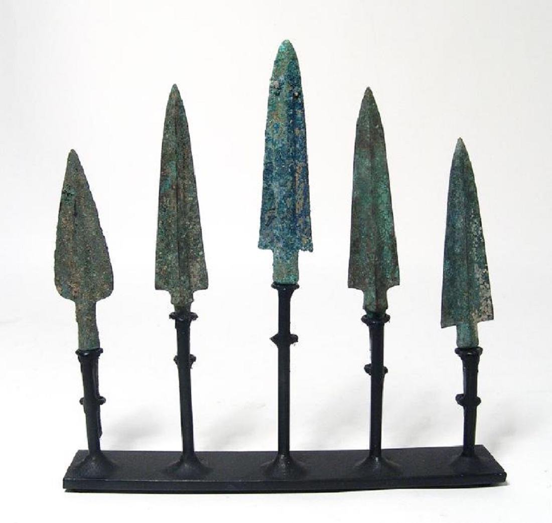 Set of 5 Near Eastern bronze arrow and spear points