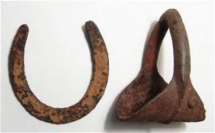 An iron horseshoe and stirrup, Civil War period