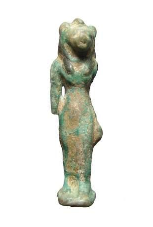 Large Egyptian faience bicolor amulet of Bastet