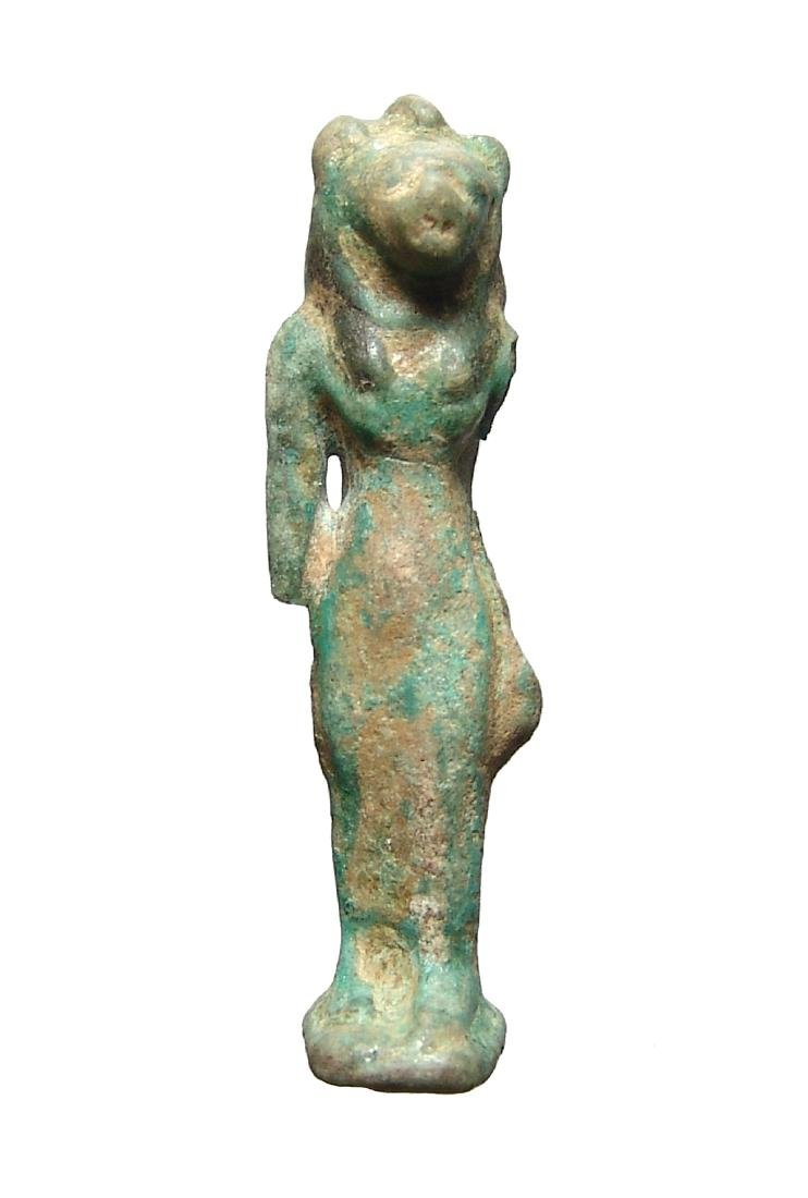 Large Egyptian faience bicolor amulet of Bastet