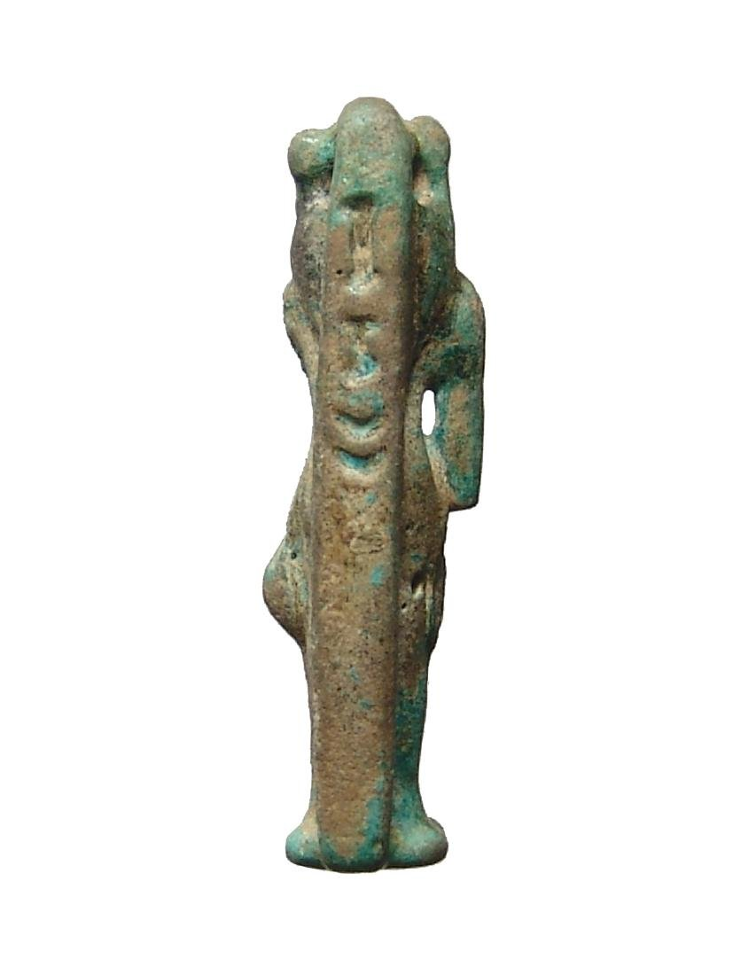 Large Egyptian faience bicolor amulet of Bastet - 4