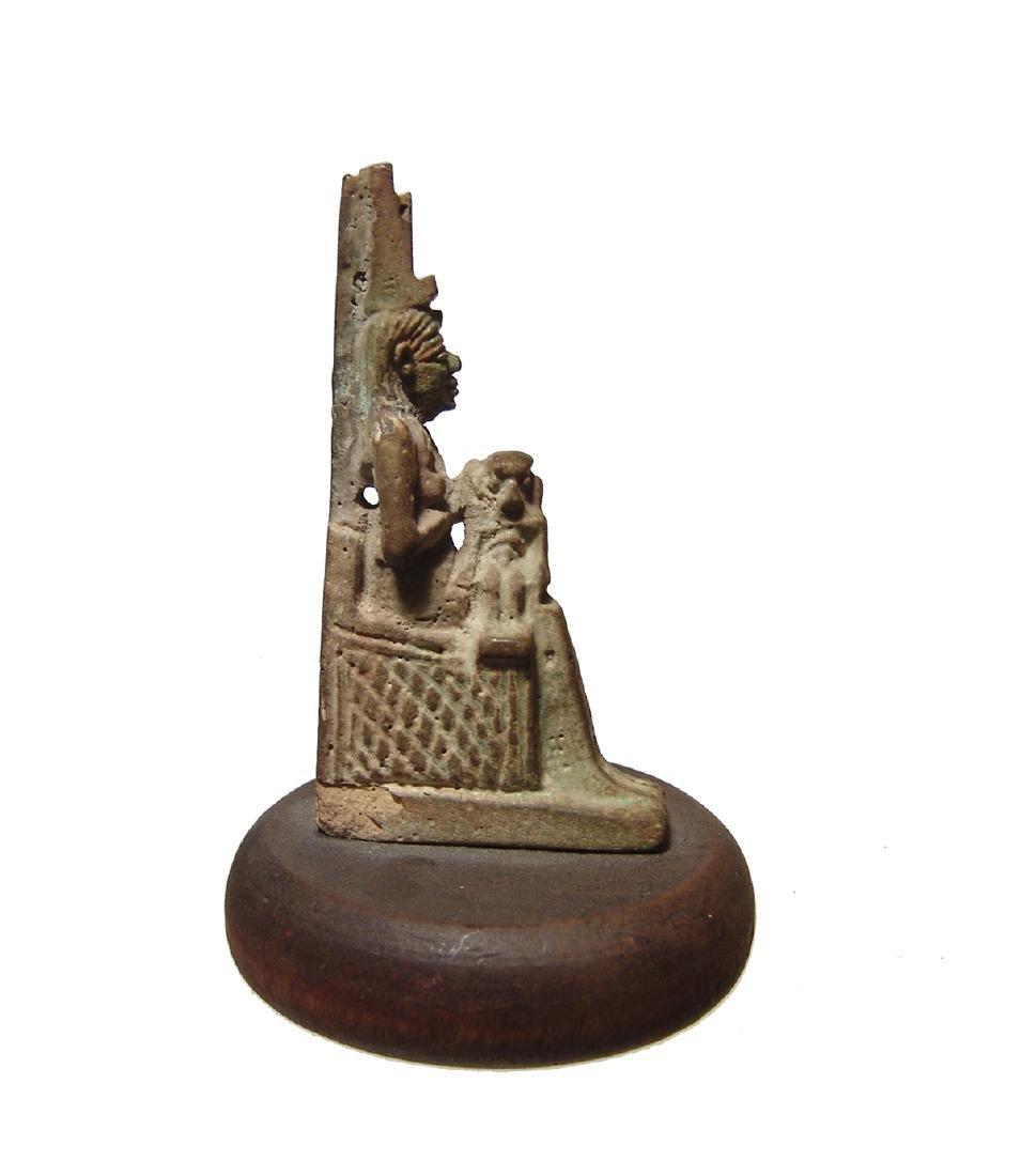 Wonderfully detailed Egyptian faience amulet of Isis