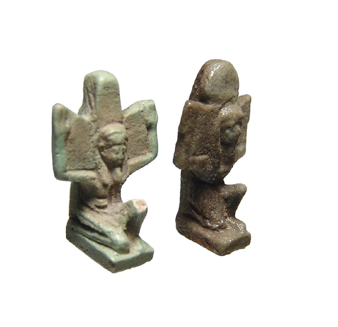 A pair of nice Egyptian faience amulets of Shu